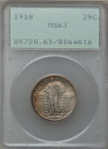 Standing Liberty Quarters: , 1918 25C MS63 PCGS. PCGS Population (103/228). NGC Census:(42/212). Mintage: 14,240,000. Numismedia Wsl. Price for problem...