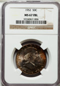 Franklin Half Dollars: , 1952 50C MS67 Full Bell Lines NGC. NGC Census: (4/0). PCGSPopulation (8/0). Numismedia Wsl. Price for problem free NGC/PC...