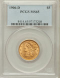 Liberty Half Eagles: , 1906-D $5 MS65 PCGS. PCGS Population (45/6). NGC Census: (54/10).Mintage: 320,000. Numismedia Wsl. Price for problem free ...