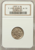Buffalo Nickels, 1937-D 5C Three-Legged FS-020.2 AU50 NGC. NGC Census: (186/3763).PCGS Population (551/2872). Mintage: 17,826,000. Numismed...