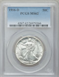 Walking Liberty Half Dollars: , 1916-D 50C MS62 PCGS. PCGS Population (175/1102). NGC Census:(214/785). Mintage: 1,014,400. Numismedia Wsl. Price for prob...
