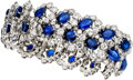 Estate Jewelry:Bracelets, Sapphire, Diamond, Platinum Bracelet, Van Cleef & Arpels. ...