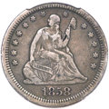 Seated Quarters, 1858-S 25C XF40 PCGS....