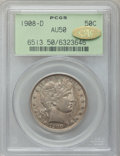 Barber Half Dollars: , 1908-D 50C AU50 PCGS. Gold CAC. PCGS Population (26/291). NGCCensus: (7/206). Mintage: 3,280,000. Numismedia Wsl. Price fo...