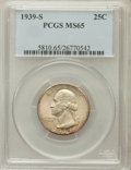 Washington Quarters: , 1939-S 25C MS65 PCGS. PCGS Population (560/315). NGC Census:(356/257). Mintage: 2,628,000. Numismedia Wsl. Price for probl...