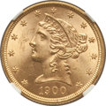 Liberty Half Eagles: , 1900 $5 MS64+ NGC. NGC Census: (1586/229). PCGS Population(874/96). Mintage: 1,405,730. Numismedia Wsl. Price for problem ...