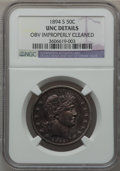 Barber Half Dollars, 1894-S 50C -- Obverse Improperly Cleaned -- NGC Details. Unc. NGCCensus: (2/104). PCGS Population (6/113). Mintage: 4,048,...