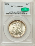Walking Liberty Half Dollars: , 1934 50C MS66+ PCGS. CAC. PCGS Population (449/132). NGC Census:(288/101). Mintage: 6,964,000. Numismedia Wsl. Price for p...