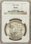 Morgan Dollars: , 1921-S $1 MS64 NGC. NGC Census: (4921/801). PCGS Population(3392/793). Mintage: 21,695,000. Numismedia Wsl. Price for prob...
