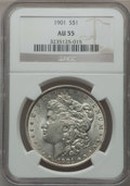 Morgan Dollars: , 1901 $1 AU55 NGC. NGC Census: (774/1945). PCGS Population(884/1395). Mintage: 6,962,813. Numismedia Wsl. Price forproblem...