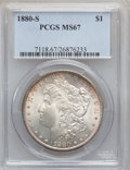 Morgan Dollars: , 1880-S $1 MS67 PCGS. PCGS Population (1786/163). NGC Census:(3089/252). Mintage: 8,900,000. Numismedia Wsl. Price for prob...