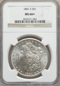Morgan Dollars: , 1881-S $1 MS66+ NGC. NGC Census: (16208/4211). PCGS Population(12033/1673). Mintage: 12,760,000. Numismedia Wsl. Price for...