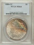 Morgan Dollars: , 1880-CC $1 MS64 PCGS. PCGS Population (4379/3023). NGC Census:(2998/1806). Mintage: 591,000. Numismedia Wsl. Price for pro...