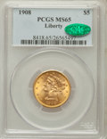 Liberty Half Eagles: , 1908 $5 MS65 PCGS. CAC. PCGS Population (195/40). NGC Census:(265/55). Mintage: 421,874. Numismedia Wsl. Price for problem...