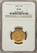 Liberty Half Eagles: , 1852-D $5 XF45 NGC. NGC Census: (38/141). PCGS Population (50/78).Mintage: 91,500. Numismedia Wsl. Price for problem free ...