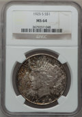 Peace Dollars: , 1925-S $1 MS64 NGC. NGC Census: (1618/63). PCGS Population(1742/38). Mintage: 1,610,000. Numismedia Wsl. Price for problem...