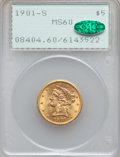 Liberty Half Eagles: , 1901-S $5 MS60 PCGS. CAC. PCGS Population (224/4705). NGC Census:(140/6041). Mintage: 3,648,000. Numismedia Wsl. Price for...
