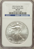 Modern Bullion Coins, 2010 $1 Silver Eagle Early Releases MS69 NGC. NGC Census:(44042/4412). PCGS Population (8372/45870). Numismedia Wsl. Pric...