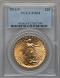 Saint-Gaudens Double Eagles: , 1914-S $20 MS64 PCGS. PCGS Population (5155/2030). NGC Census:(5813/1482). Mintage: 1,498,000. Numismedia Wsl. Price for p...