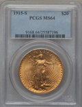 Saint-Gaudens Double Eagles: , 1915-S $20 MS64 PCGS. PCGS Population (4165/2132). NGC Census:(5524/1760). Mintage: 567,500. Numismedia Wsl. Price for pro...