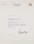 Autographs:U.S. Presidents, Ronald Reagan Typed Letter Signed...