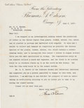 Autographs:Inventors, Thomas Edison Typed Letter Signed...