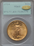 Saint-Gaudens Double Eagles, 1924 $20 MS60 PCGS. Gold CAC. PCGS Population (1975/257844). NGCCensus: (731/297357). Mintage: 4,323,500. Numismedia Wsl. ...