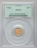 Gold Dollars: , 1853 G$1 MS62 PCGS. PCGS Population (1308/1734). NGC Census:(3160/2329). Mintage: 4,076,051. Numismedia Wsl. Price for pro...