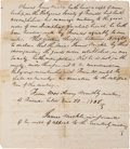 Autographs:Statesmen, [Quaker]. Two Documents: Marriage Certificate and ExpulsionManuscript,... (Total: 2 )