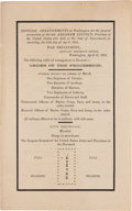 Autographs:U.S. Presidents, [Abraham Lincoln]. Official Funeral Arrangements Program atWashington...