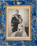 Autographs:Non-American, Crown Prince Olav and Crown Princess Märtha of Norway SignedPhotograph in Silver Gilt and Sodalite Presentation Frame....