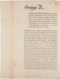 Autographs:Non-American, [George III]. Printed Broadside: Additional Instructions to theCommanders of all Our Ships of War and Privateers...