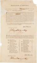 Autographs:Statesmen, [John Hancock]. John Avery Document Twice Signed....