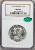Commemorative Silver: , 1921 50C Alabama MS64 ★ NGC. CAC. NGC Census: (796/447). PCGSPopulation (817/515). Mintage: ...