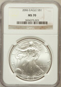 Modern Bullion Coins, 2006 $1 Silver Eagle MS70 NGC. NGC Census: (3850). PCGS Population(375). Numismedia Wsl. Price for problem free NGC/PCGS ...