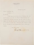Autographs:U.S. Presidents, Benjamin Harrison Typed Letter Signed...