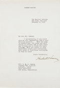 Autographs:U.S. Presidents, Herbert Hoover Typed Letter Signed.... (Total: 2 Items)