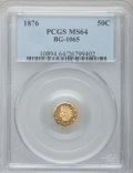 California Fractional Gold: , 1876 50C Indian Round 50 Cents, BG-1065, R.5, MS64 PCGS. PCGSPopulation (11/5). NGC Census: (1/1). ...