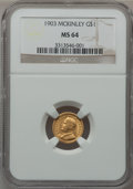 Commemorative Gold: , 1903 G$1 Louisiana Purchase/McKinley MS64 NGC. NGC Census:(510/882). PCGS Population (865/1065). Mintage: 17,500. Numismed...