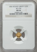 California Fractional Gold: , 1856 25C Liberty Round 25 Cents, BG-230, Low R.4, MS64 NGC. NGCCensus: (3/4). PCGS Population (20/3). ...