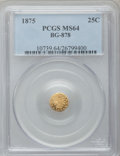 California Fractional Gold: , 1875 25C Indian Round 25 Cents, BG-878, R.3, MS64 PCGS. PCGSPopulation (49/16). NGC Census: (4/2). ...