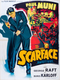 "Movie Posters:Crime, Scarface (Les Films Marveuf, R-1950s). French Grande (47"" X 63"")....."