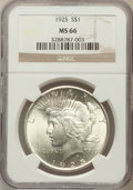 Peace Dollars: , 1925 $1 MS66 NGC. NGC Census: (1716/67). PCGS Population (1470/77).Mintage: 10,198,000. Numismedia Wsl. Price for problem ...