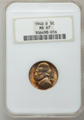 Jefferson Nickels: , 1940-D 5C MS67 NGC. NGC Census: (336/0). PCGS Population (14/0).Mintage: 43,540,000. Numismedia Wsl. Price for problem fre...