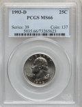 Washington Quarters: , 1993-D 25C MS66 PCGS. PCGS Population (115/6). NGC Census: (65/27).Mintage: 645,476,096. ...