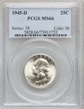 Washington Quarters: , 1945-D 25C MS66 PCGS. PCGS Population (308/26). NGC Census:(456/126). Mintage: 12,341,600. Numismedia Wsl. Price for probl...