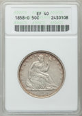 Seated Half Dollars: , 1858-O 50C XF40 ANACS. NGC Census: (24/284). PCGS Population(60/333). Mintage: 7,294,000. Numismedia Wsl. Price for proble...