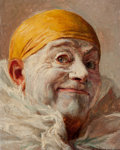 Fine Art - Painting, European, ARMAND FRANÇOIS JOSEPH HENRION (French, 1875-1975). ClownSmirking. Oil on panel. 7 x 5-1/2 inches (17.8 x 14.0 cm).Sig...