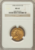 Indian Half Eagles: , 1908 $5 MS62 NGC. NGC Census: (2633/2023). PCGS Population(1828/2153). Mintage: 577,800. Numismedia Wsl. Price for problem...