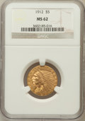 Indian Half Eagles: , 1912 $5 MS62 NGC. NGC Census: (3649/1469). PCGS Population(2706/1753). Mintage: 790,000. Numismedia Wsl. Price for problem...